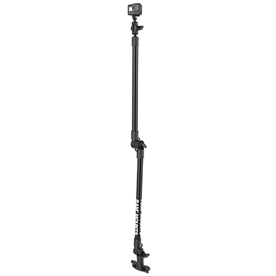 "RAP-411-18-18-A-GOP1 - RAM TRACK BASE WITH 2 18"" PIPES, SHORT ARM AND GO PRO ADAPTER"