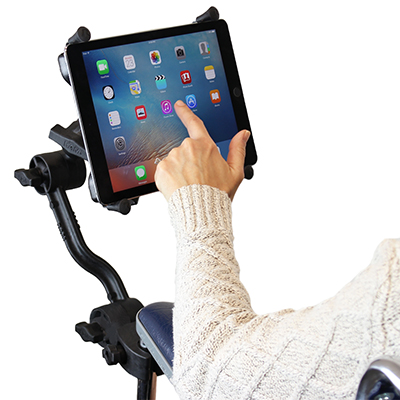 RAM Mounts Ratchet Extension Arm Kit with tablet holder mounted on a wheelchair arm