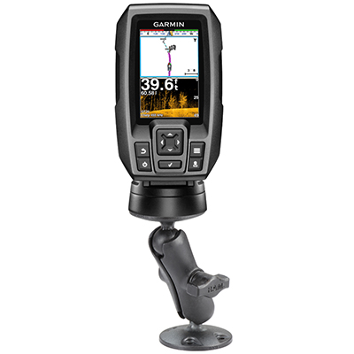 RAP-B-101U-G4 - RAM Composite Double Ball Mount with Hardware for Garmin Striker + More