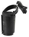RAP-B-132B-201U - RAM Self-Leveling Cup Holder with Koozie & Double Socket Arm