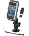 RAP-B-378-AQ7-1 - RAM Adhesive Flex Base Mount with AQUA BOX® Pro 10 Case, CRADLE CLIP, BELT CLIP, BELT CLIP BUTTON and LANYARD for the iPhone 4 & 3 WITHOUT CASE, SKIN OR SLEEVE