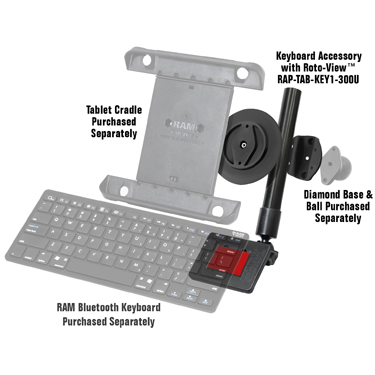 RAM® Keyboard Accessory for Tablets with RAM® Roto-View™