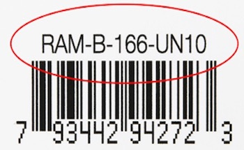 Part number circled on top of barcode