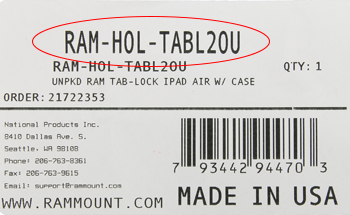Part number circled on label