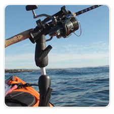RAM ROD 2007 Jr. Fly Rod Holder Mounted on Kayak