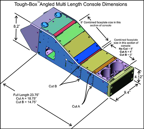 Diagram of Tough-Box™ Angled Multi Length Console Dimensions