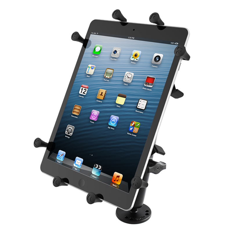 "RAM Flat Surface Mount with LONG Double Socket Arm & Universal X-Grip® Holder for 10"" Large Tablets"