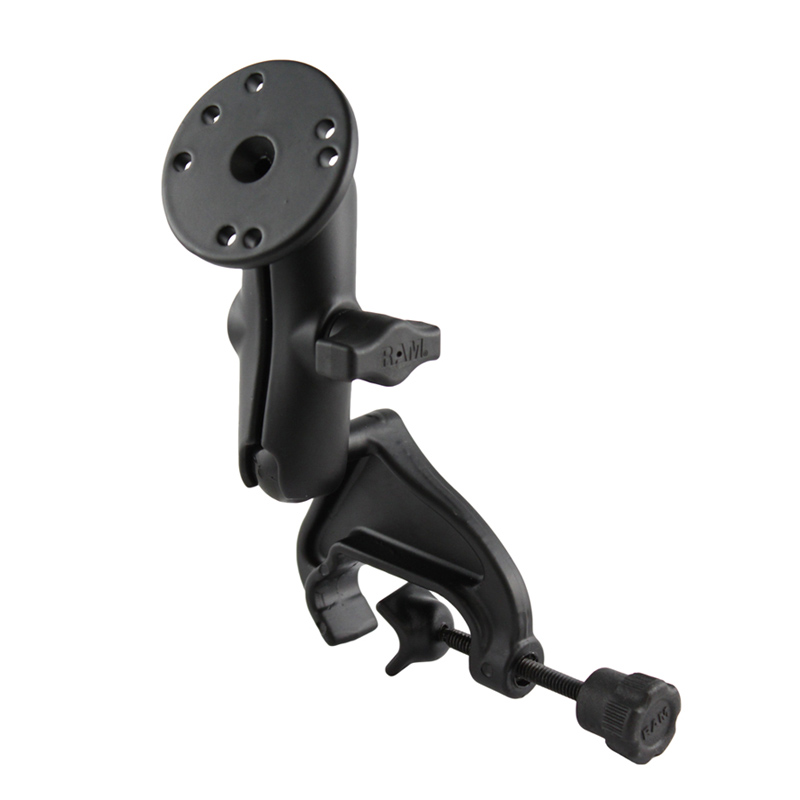 RAM Yoke Clamp Mount with Double Socket Arm and Round Base Adapter