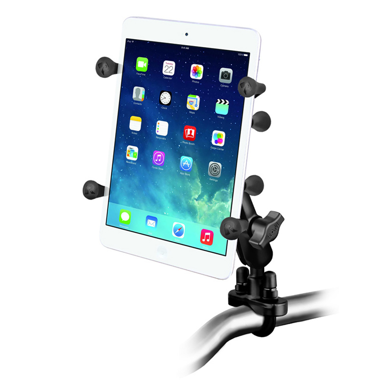 "RAM Handlebar Rail Mount with Zinc Coated U-Bolt Base and Universal X-Grip® Holder with 1"" Ball for 7"" Tablets"
