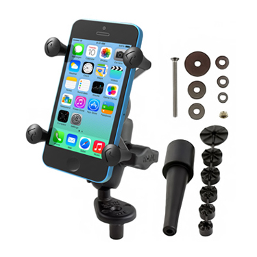 RAM Fork Stem Mount with Short Double Socket Arm & Universal X-Grip® Cell/iPhone Holder
