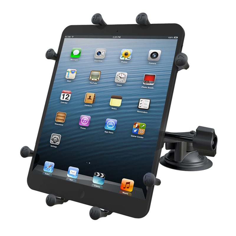 "RAM Double Twist Lock Suction Cup Mount with Retention Knob & Universal X-Grip® Holder for 10"" Large Tablets"
