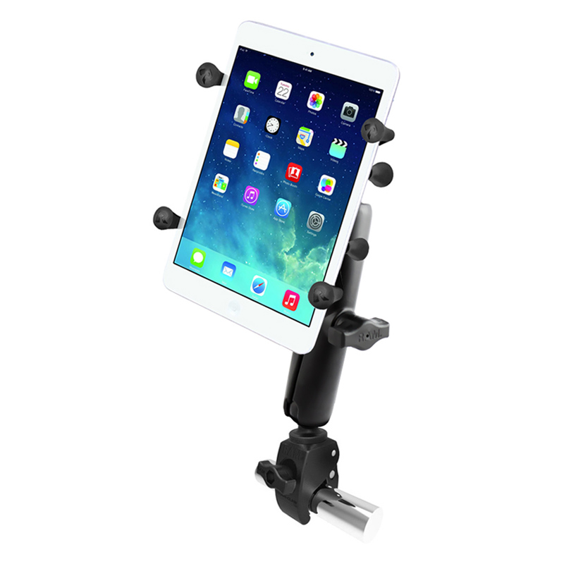 "RAM Small Tough-Claw™ Base with Long Double Socket Arm and Universal X-Grip® Holder with 1"" Ball for 7"" Tablets"